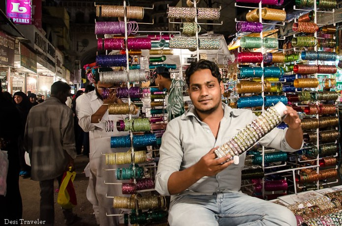 bangle seller in lad bazaar night market charminar