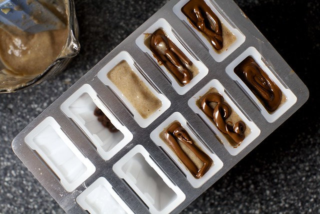 banana nutella popsicles, ready to freeze