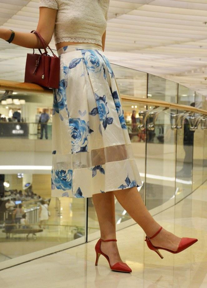 topshop blue floral midi skirt, red ankle strap heels