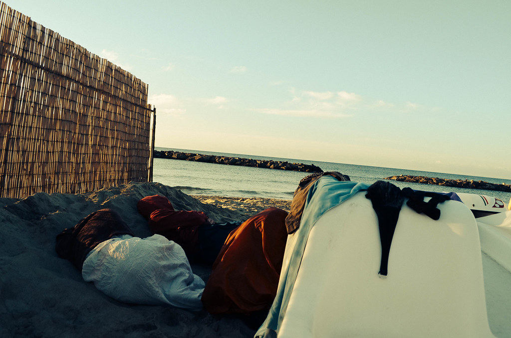 Sleeping out on the beach in Italy