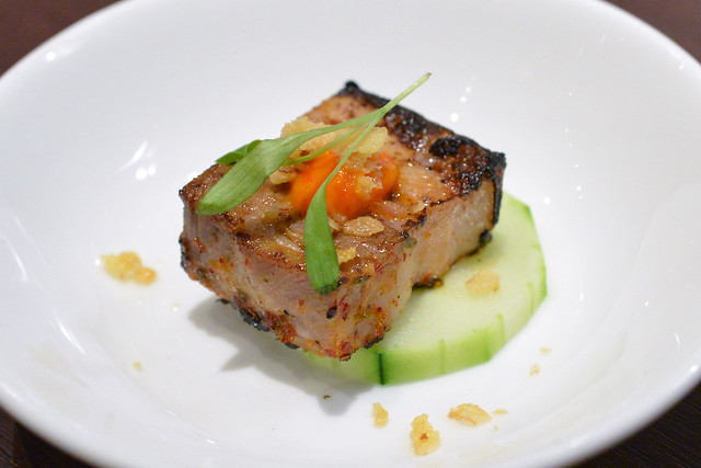braised and grilled pork belly, northern thai spices, sambal, cucumber, micro-cilantro