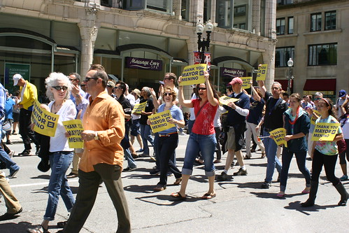 Walkers appreciating out-going Mayor Thomas Menino