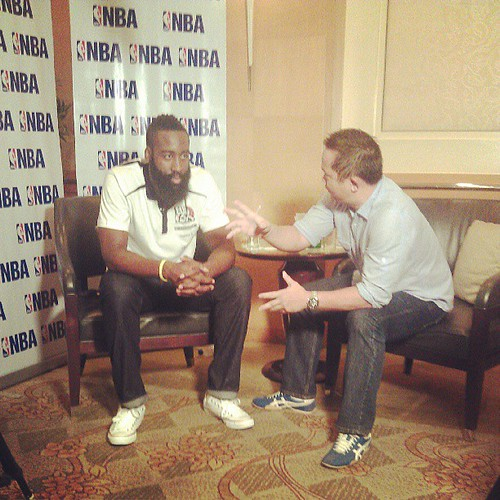 Inside the interview room @ChinoTrinidad with James Harden #NBA3x #Philippines