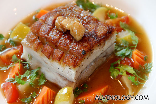 PRESSED PORK BELLY (Melt in your mouth pork belly served with  braised apples, garden vegetables and a honey & clove apple glaze) - S$19.90