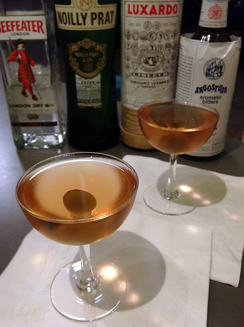 Imperial Cocktail (Savoy): gin, French vermouth, maraschino liqueur, Angostura bitters, (tom)olive