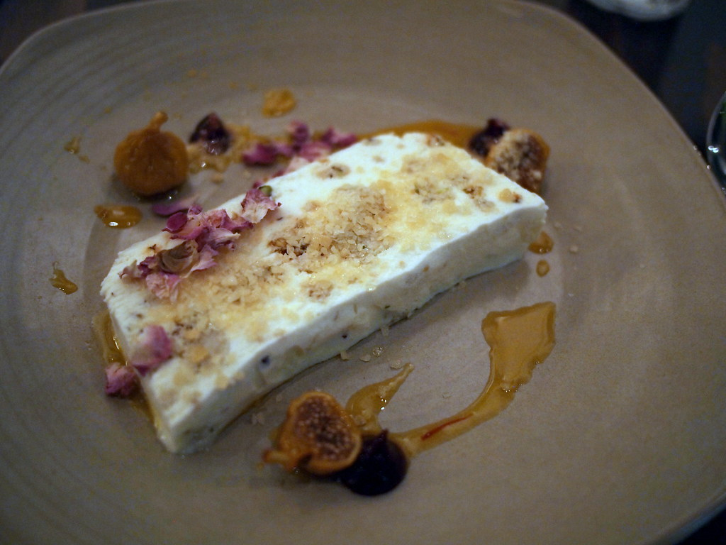 Pistachio parfait and saffron persian figs, with honey, rose petals and popping candy
