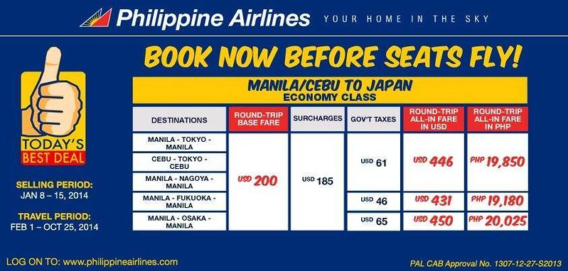 Philippine Airlines Slashes Fares to Tokyo