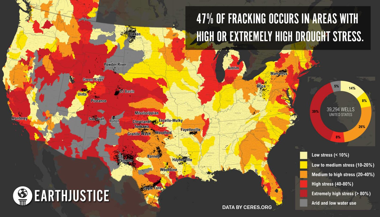 Map Of Fracking Occurs In Areas With High Or Extremely High - Us fracking map