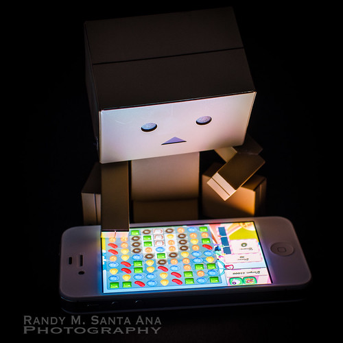 Danbo Playing Game On iPhone.