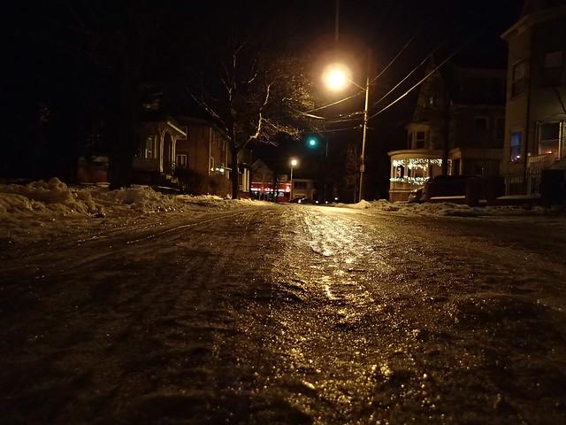 Ice-strewn side street in Providence, RI