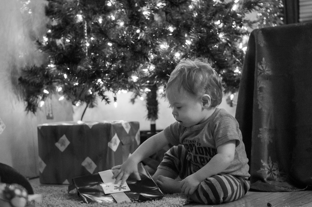 Christmas Eve - Micah's first present