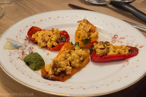 Roasted peppers with Rajasthani Paneer, coriander, mint
