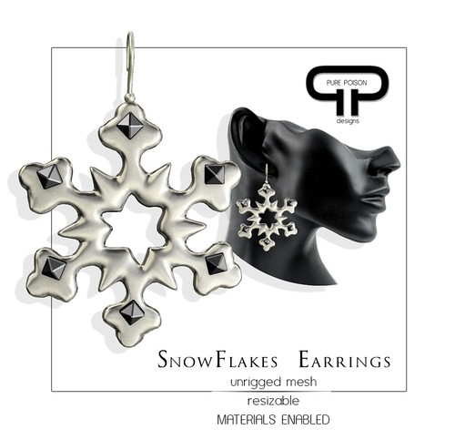 Pure Poison - Snowflakes Earrings - december Subscriber Gift
