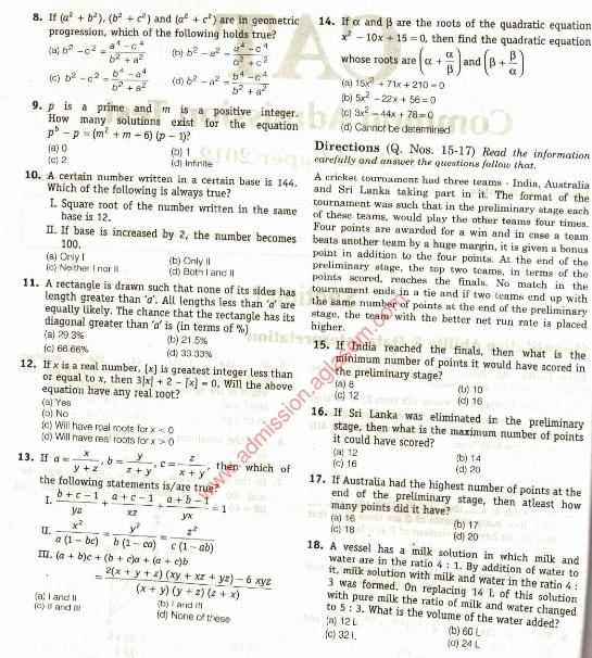 Cat Exam Paper Pdf