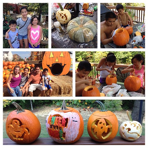 Visiting the pumpkin patch and carved pumpkins