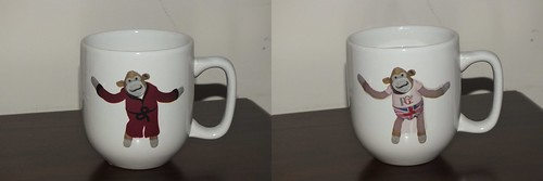 PG Tips monkey cup before and after hot water was poured into the cup