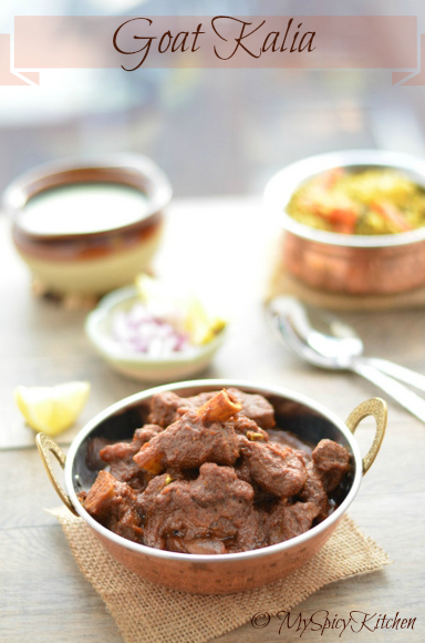 Goat kalia, Mutton Kalia, Mutton Curry, Goat Curry, Masaledar Gosht, North Indian Recipe, Blogging Marathon,