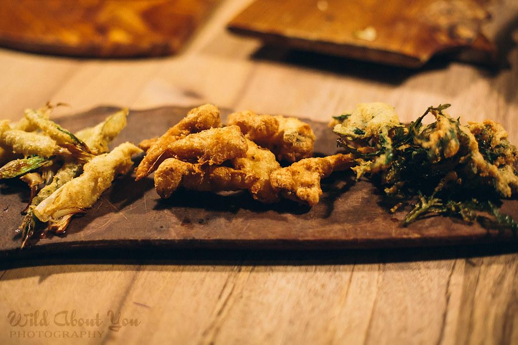 tempura Japanese onions, hen-of-the-woods mushrooms, and dandelion greens