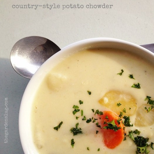 soup of the day: country potato soup. With very chunky vegetables.