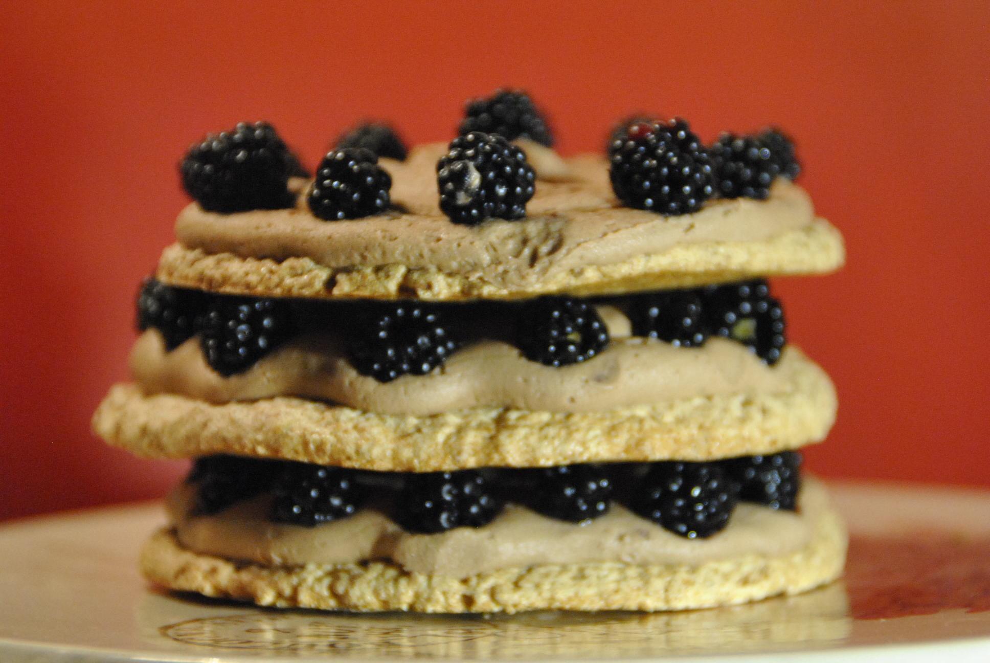 nutlla icing blackberry meringue cake