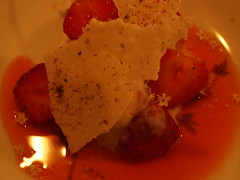 dessert: Strawberries and elderflower