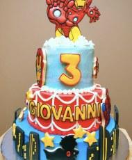 Ironman Spiderman birthday cake