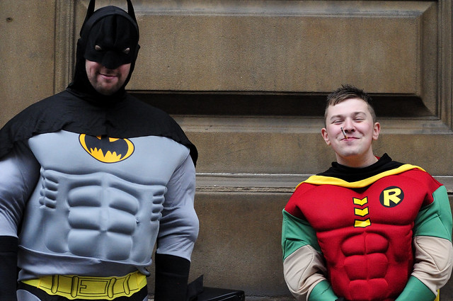 Batman and Robin smoking