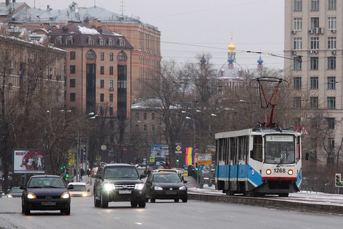 Moscow tram #1268 on route 3 heads north from the Zamoskvorechye District