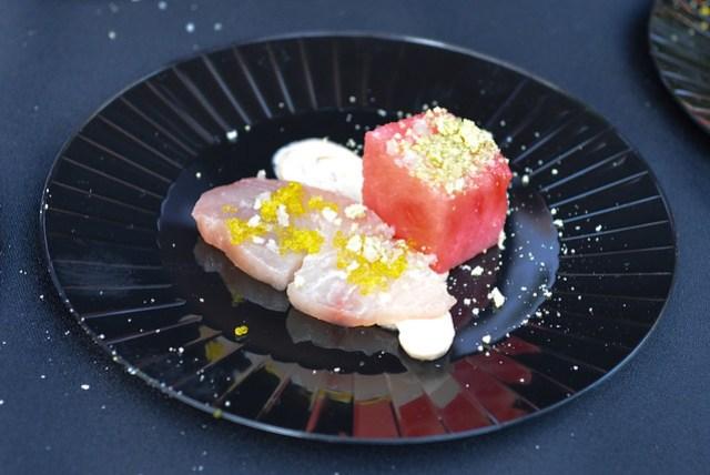Lexington Social House yellowtail tuna, compressed watermelon, yuzu tobiko, candied wasabi, ponzu creme fraiche