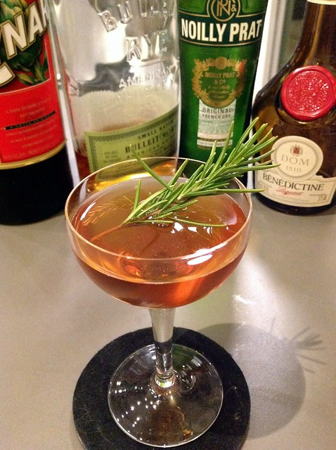 The Doe's Path: rye, dry vermouth, Cynar, Benedictine, rosemary garnish