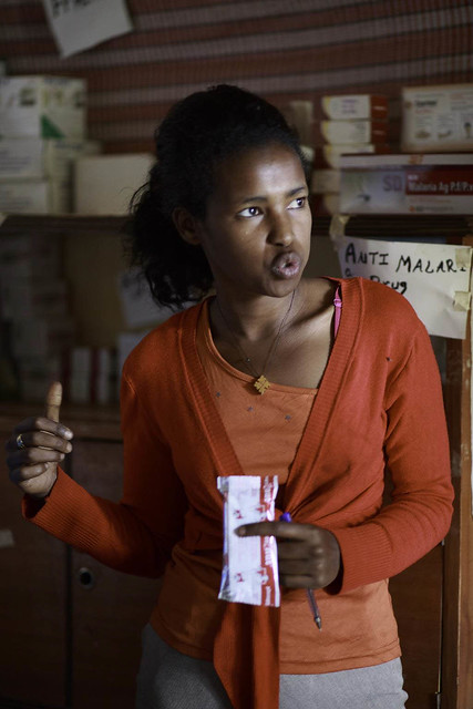 Holding Plumpy'Nut produced in Ethiopia, Misa Wondimagen, 25, Health Extension Worker