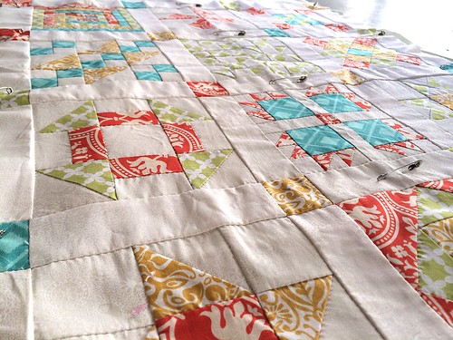 Hand Pieced Quilt Along Basted Close Up