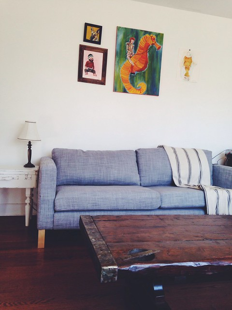 New sofa, paintings hung
