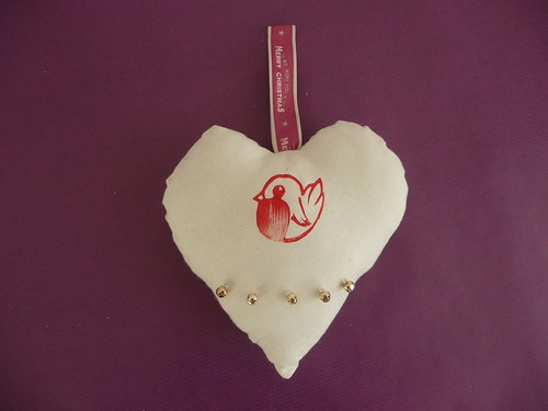 Lino Printed Robin Heart Bauble