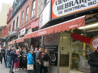 Lined up outside Schwartz's