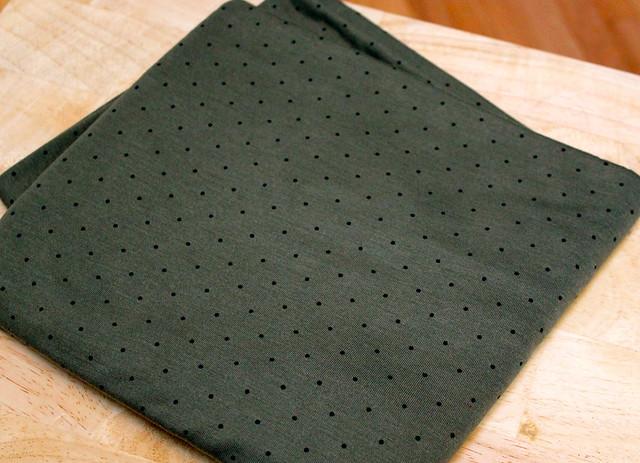 Black Pin Dot Olive Jersey Blend