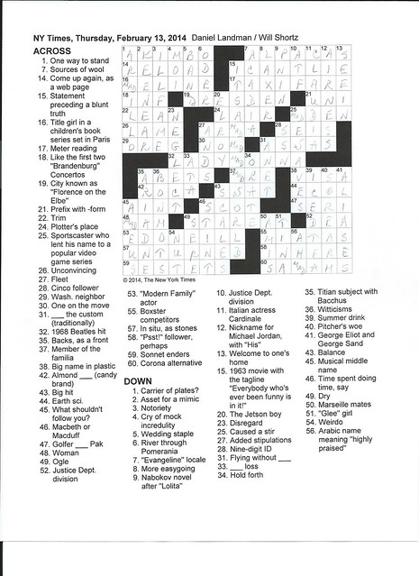 NYT Thursday Puzzle - February 13, 2014