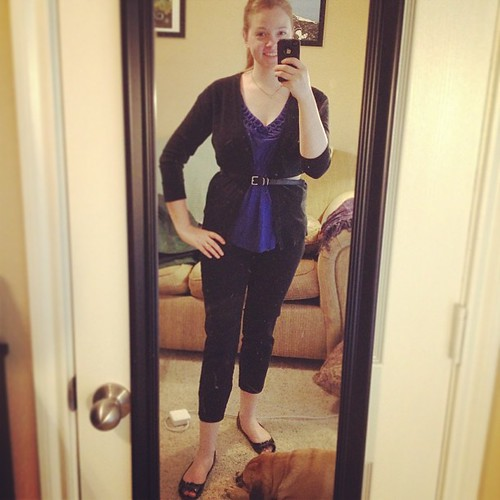 Puggle cameo in this simple blue and black #ootd! Slacks: ON, everything else: Targey, of course.
