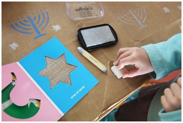 Decorating Hanukkah Wrapping Paper