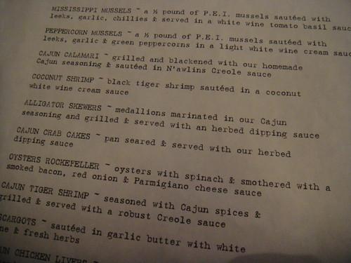 appetizer selection of menu at N'Awlins