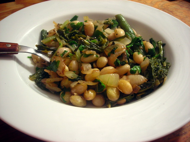 Radish greens, with cranberry beans and lemon