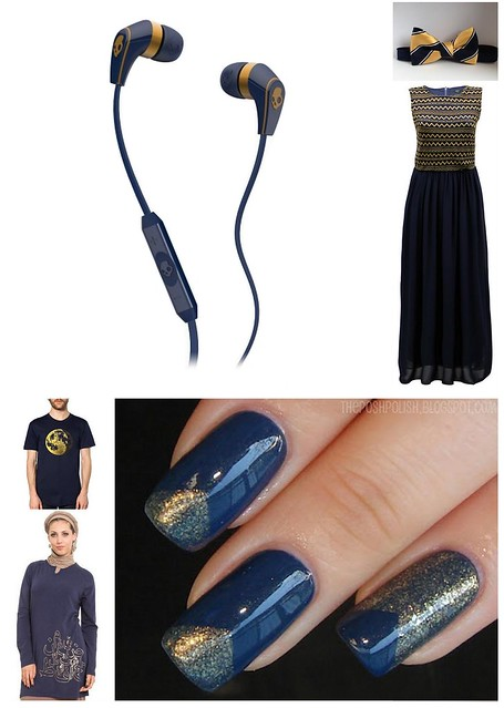 Navy Gold Wearables Collage