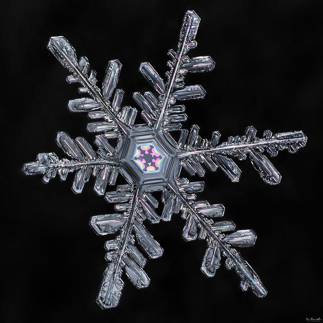 Vibrant core, snowflake macro photo by Don Komarechka