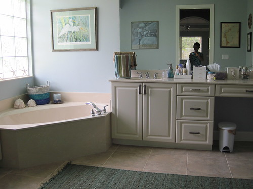 Master bath painted a bluish gray