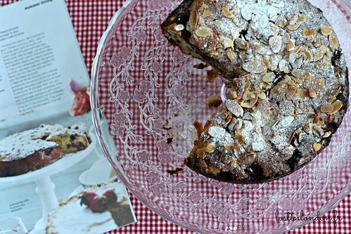raspberry, chocolate and almond cake