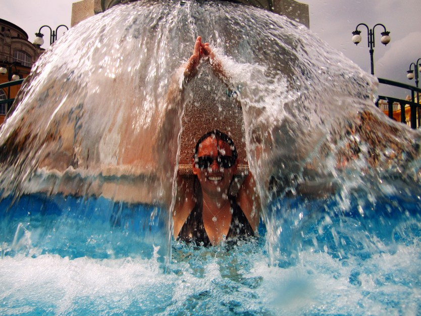 Heather parting the sea at Szechenyi Baths.
