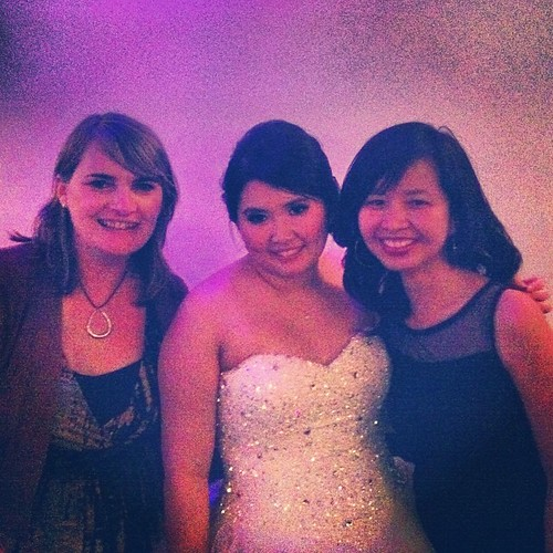 Enjoyed my friend's lovely wedding. Here I am, with the gorgeous bride and another good friend.