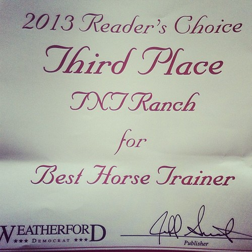 Nice surprise came in the mail today!! Readers choice award for us!! #weatherford #texas #horses #horsetrainer #award #tntranch #tnthorses #colttrainer #tomandtracidavis by tanyerhide
