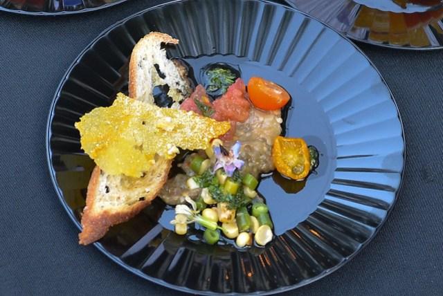 Church & State salade paysanne fraicheur, farmers market tomatoes, eggplant, zucchini, sweet corn, herb vinaigrette