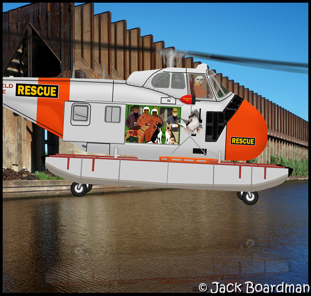 Rescue Sikorsky UH-19B approaching Superior warehouse